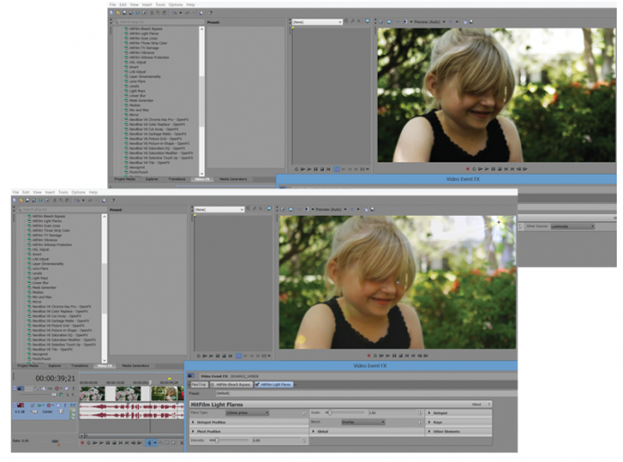 Screen grabs of Sony Vegas Pro 13