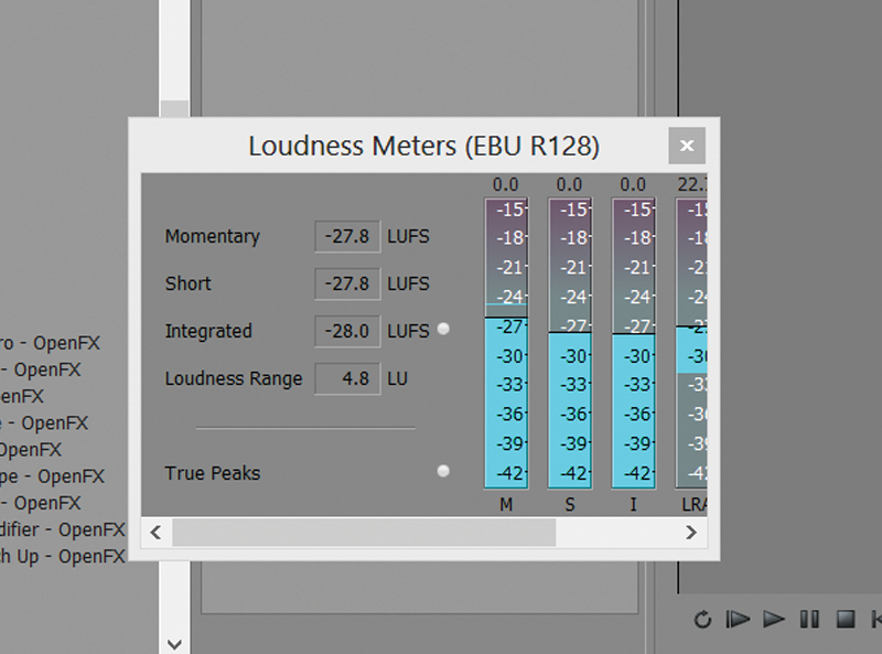 Screen grab of Loudness Meter