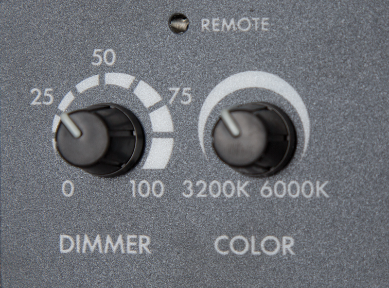 Close up photo of Dimmer and Color knobs