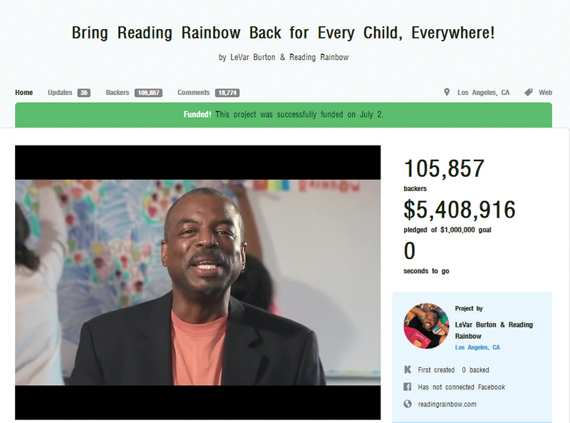 Screen grab of Reading Rainbow Kickstarter video