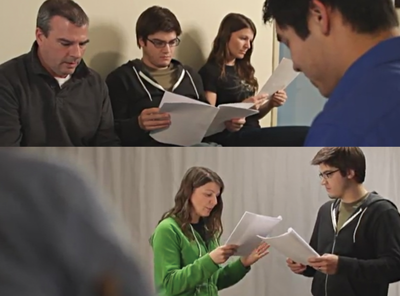 Photos of actors reading through scripts and auditioning