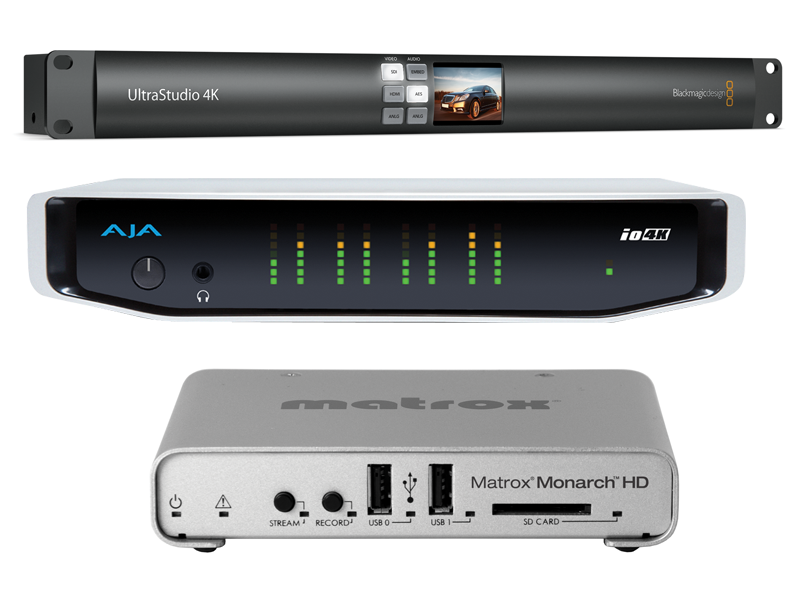 Photos of BlackMagic Ultra Studio 4K, AJA 4k and Matrox Monarch HD I/O devices.