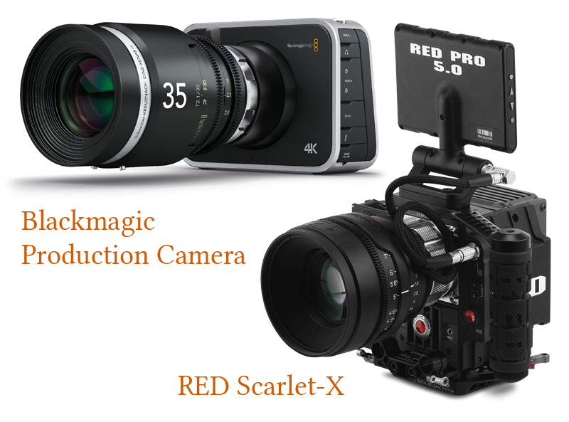 Photo showing the Blackmagic Production Camera and the RED Scarlet-X