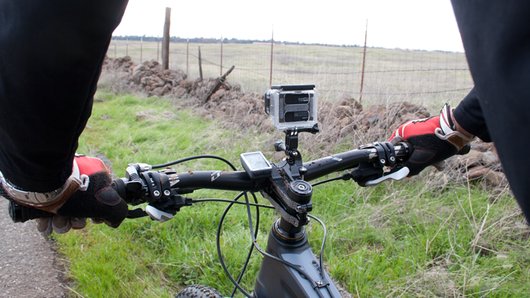 GoPro mounted on a bicycle.
