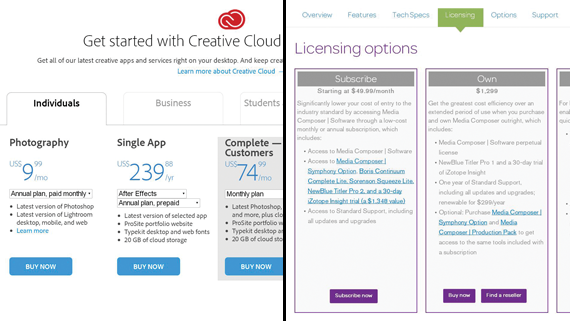 Adobe Creative Cloud and Media Composer licensing options