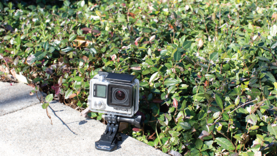 GoPro sitting discretely on curb.