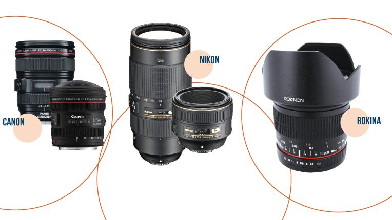 Canon, Nikon and Rokina lenses