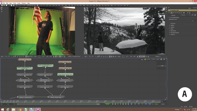 Fusion 7 screen grab showing sixteen nodes, original green screen and initial composite.