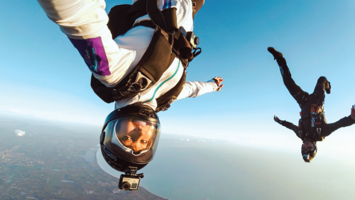 Skydivers with GoPro cameras on helments