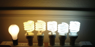Array of light bulbs with different temperatures.