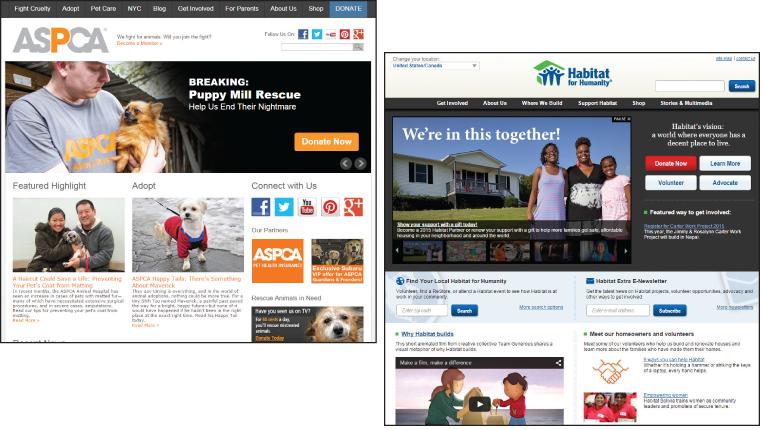 ASPCA and Habitat for Humanities websites