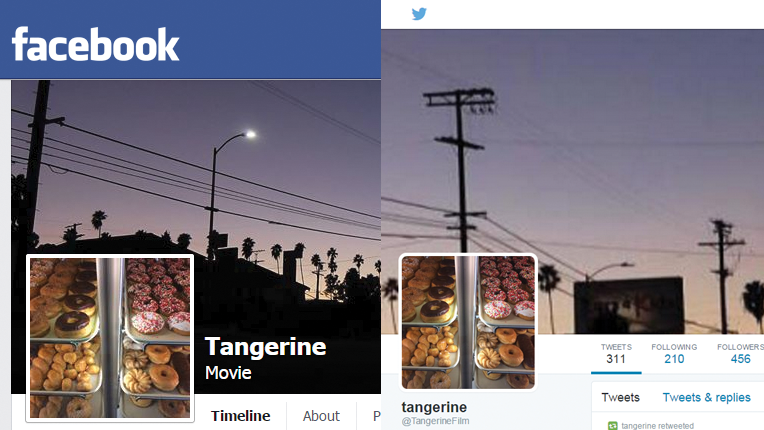 Tangerine's Facebook and Twitter profile pages side by side