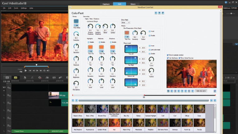 Corel VideoStudio X8 included effects tools allow for fine tuning
