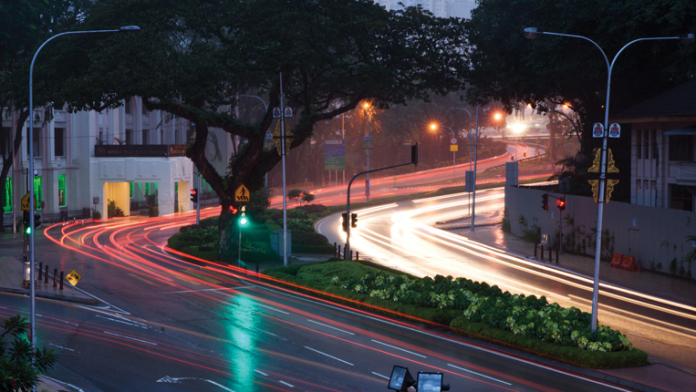 Time-lapse photo of nighttime traffic