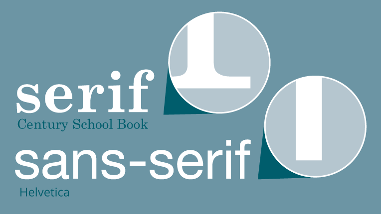 Illustration of the difference between serif and sans-serif