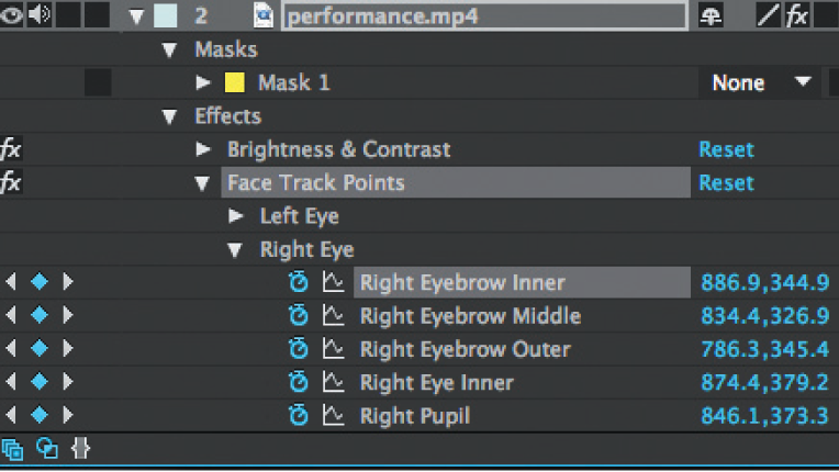 Adobe After Effects CC 2015 detailed face tracker