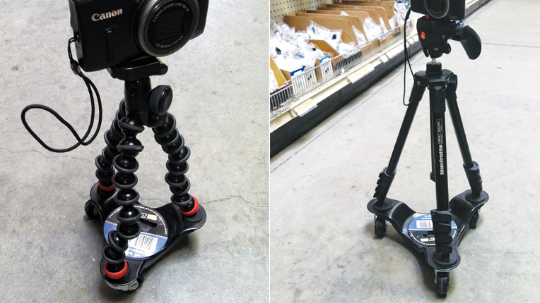 Using a hardware store dolly with the Manfrotto compact, MKC3-H01 and Joby GorillaPods