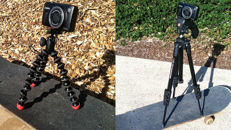 Using a skateboard as a dolly with the Manfrotto compact, MKC3-H01 and Joby GorillaPods