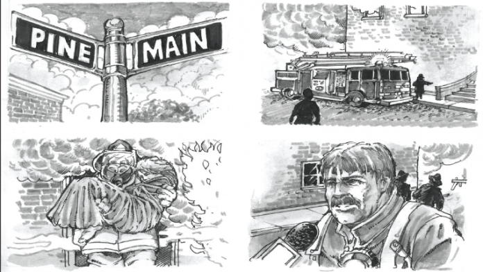Storyboard illustrating the story of a fireman's rescue of a person.