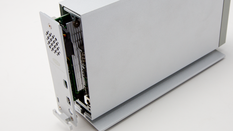 Back of drive with SSD PCIe card