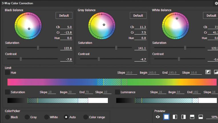 3-way color corrector for color adjustments within EDIUS