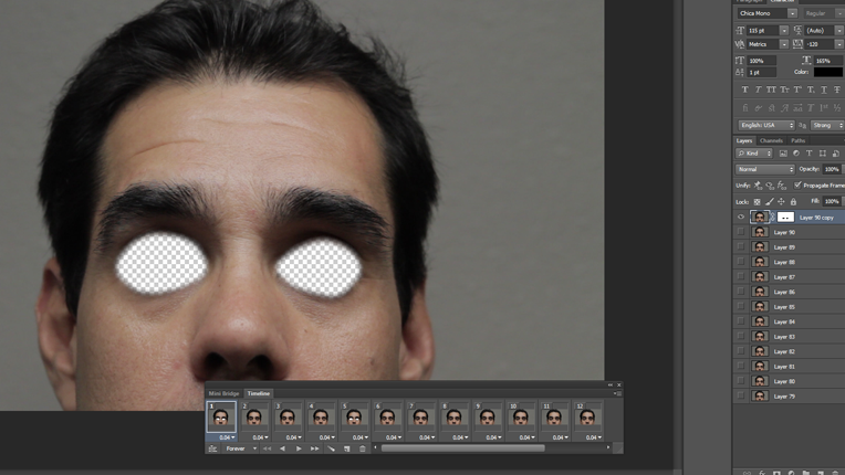 Editing interface with model - eyes masked out