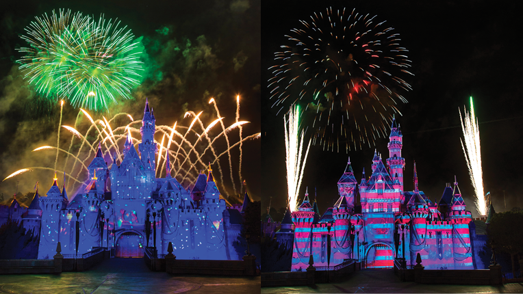 Two examples of projection mapping on the Disneyland castle.