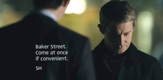 "Sherlock Holmes with subtitle ""Baker Street. Come at once if convenient. SH"