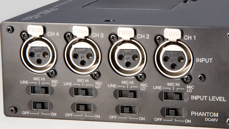 Left side XLR connectors, input level and Phantom switches