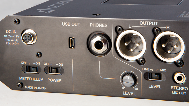 Right side DC in, USB out, Headphone jack, XLR outputs, meter illum. and Power switches.