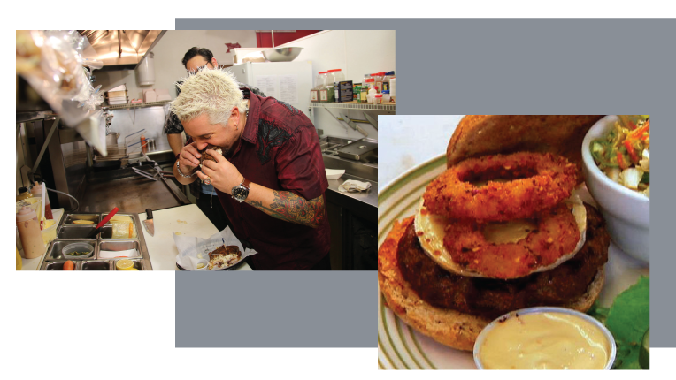 Guy tasting food and a burger with onion ring dish.