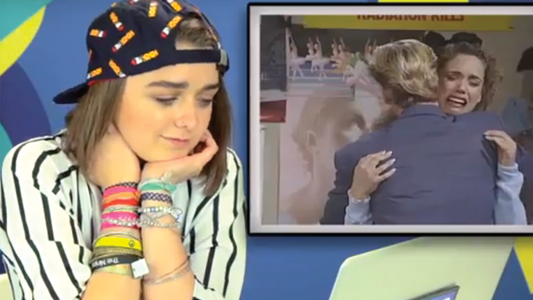 """Maisie Williams of """"Game of Thrones"""" watched """"Saved By The Bell"""" for the first time as part of  Teens React"""" video"""
