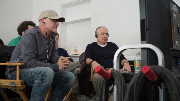 Left to right: Producer Ian Bryce and Producer Lorne Michaels on the set of   Whiskey Tango Foxtrot from Paramount Pictures and Broadway Video/Little   Stranger Productions in theatres March 4, 2016.  Photo credit: Frank Masi  © 2015 PARAMOUNT PICTURES. ALL RIGHTS RESERVED.