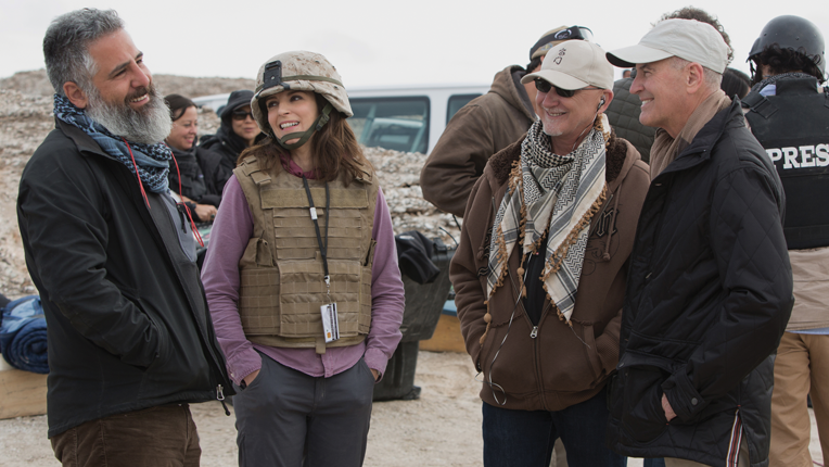 Left to right: Director Glenn Ficarra, Tina Fey, Producer Ian Bryce and   Department of Defense Director of Entertainment Media Phil Strub on the set of   Whiskey Tango Foxtrot from Paramount Pictures and Broadway Video/Little   Stranger Productions in theatres March 4, 2016.  Photo credit: Frank Masi  © 2015 PARAMOUNT PICTURES. ALL RIGHTS RESERVED.