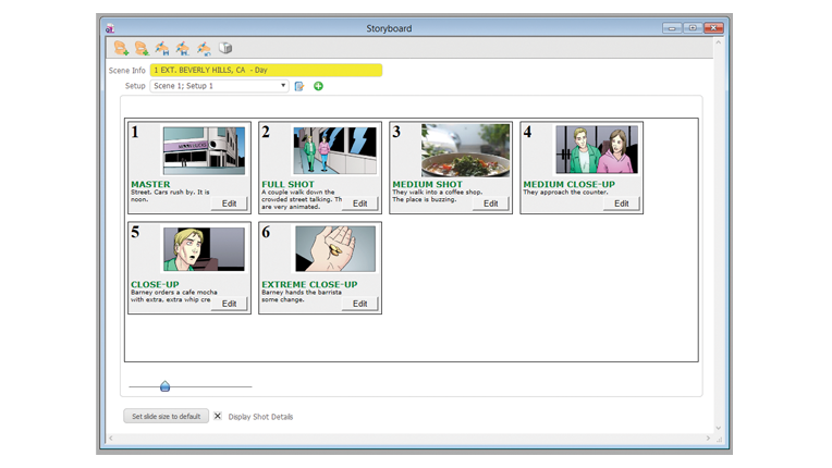 Storyboard and scheduling tools.