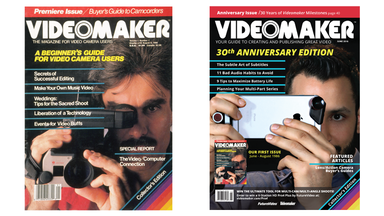 Videomaker's first issue cover side-by-side with July 2016 issue cover.