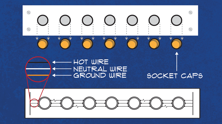 Diagram of bar light showing socket caps and the hot, neutral and ground wires