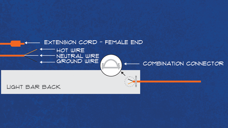 Diagram showing an extension cord attached to light bar.