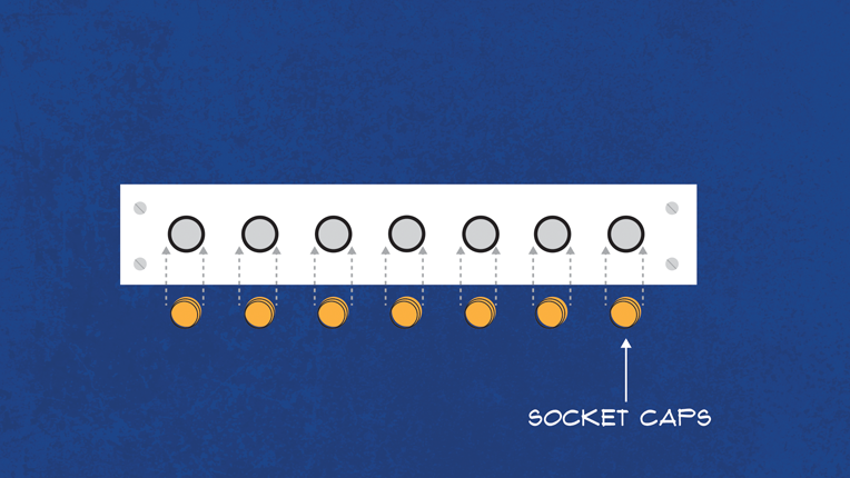 Diagram showing the replacement of the socket caps.