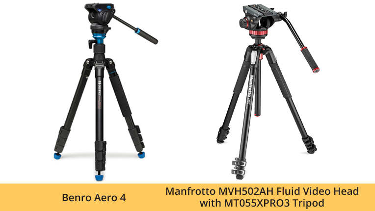 Benro  Aero  4 and Manfrotto MVH502AH Fluid Video Head with MT055XPRO3 Tripod