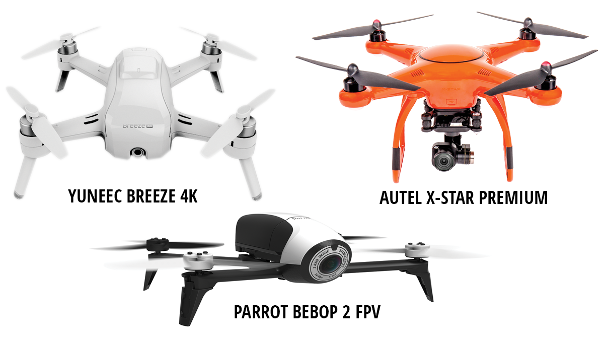 Yuneec Breeze 4K - Autel X-Star Premium - Parrot BEBOP 2 FPV