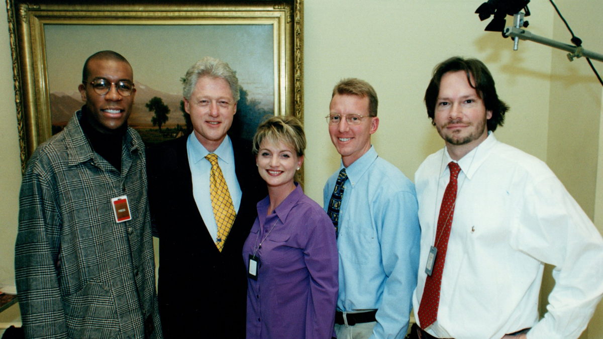 THE CREW AT THE WHITE HOUSE WITH PRESIDENT CLINTON AND OPRAH PRODUCER PATRICK REILLY