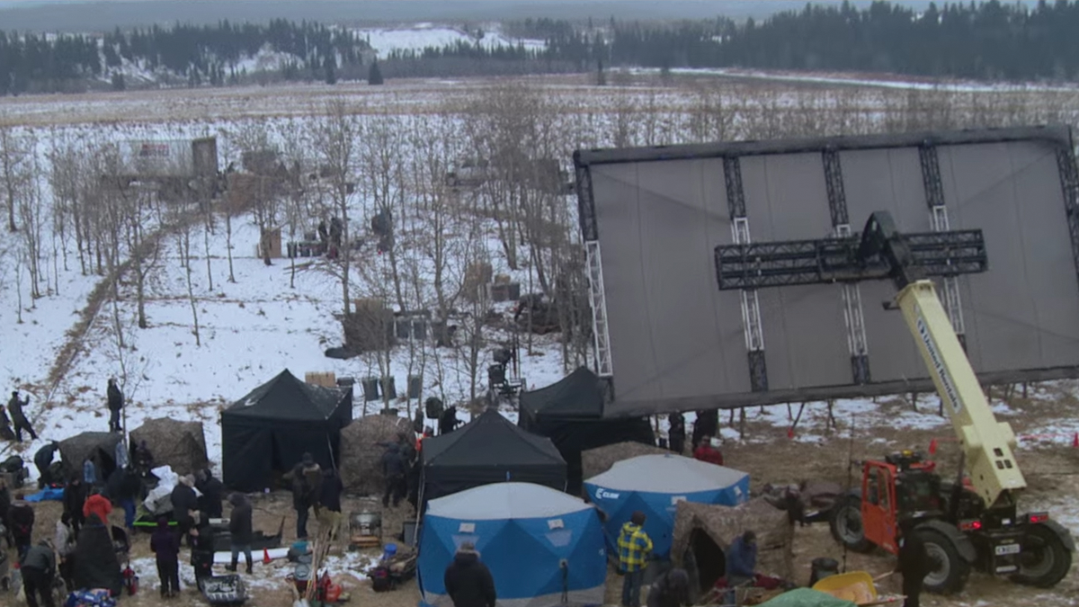 """Although additional lighting was used only once in """"The Revenant,"""" negative fill was used to add contrast, as seen mounted to the vehicle at the right of this production shot."""