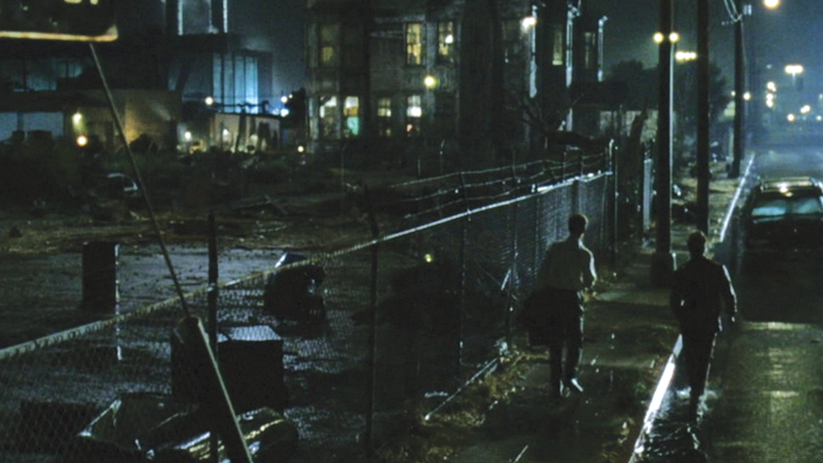 """A street scene at night like this one from """"Fight Club"""" requires extensive lighting to achieve a cinematic look."""
