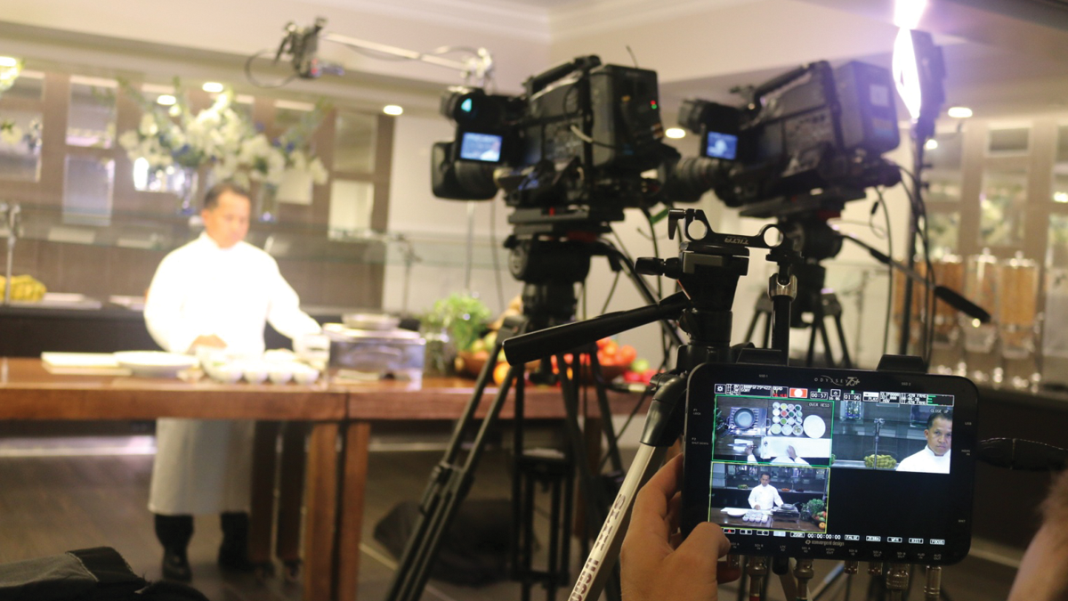 This shot from Mark shows the production of a cooking show segment, which was recorder with two Sony FS7 cameras on tripods and a GoPro mounted above the cook.