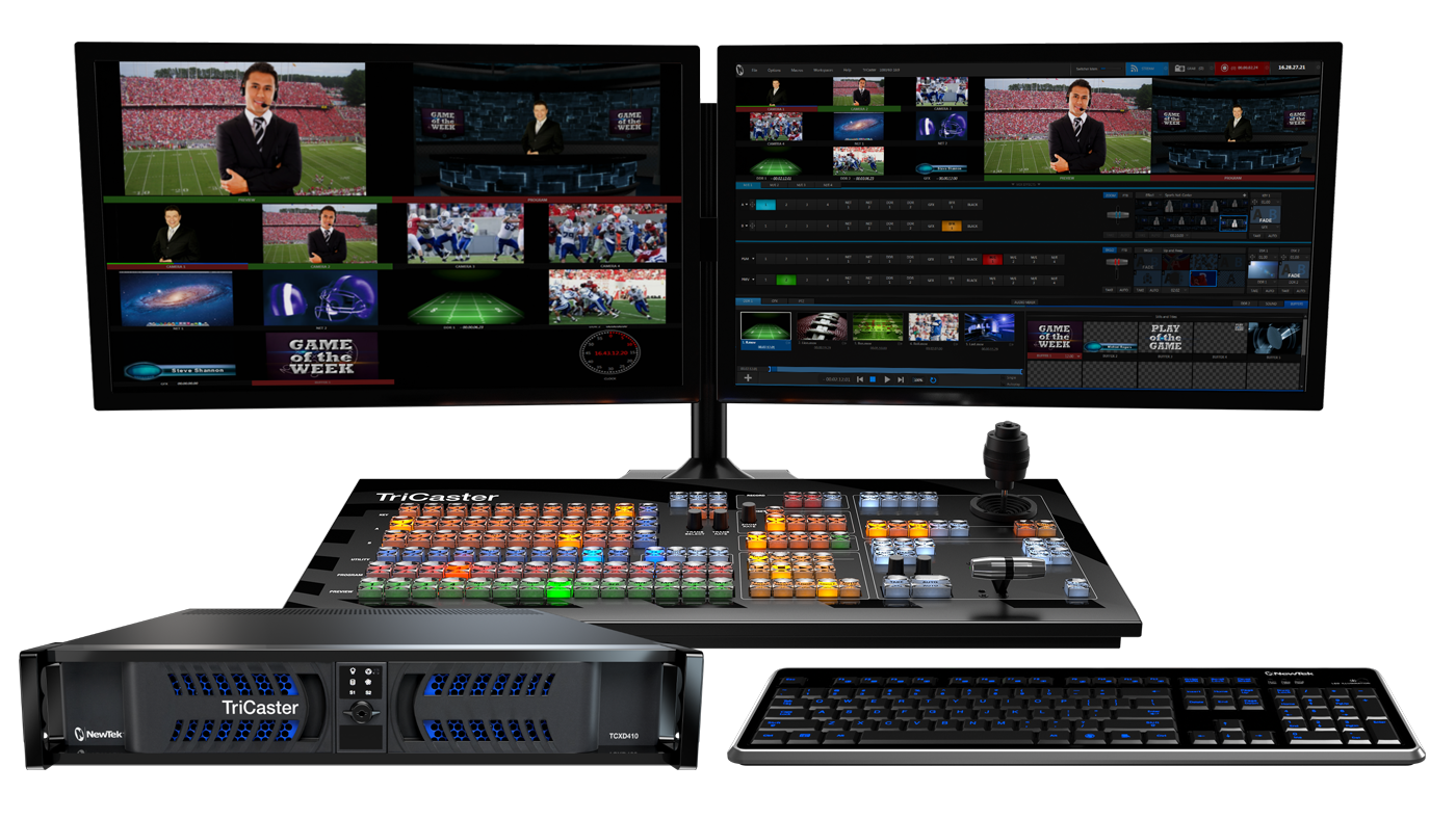 With streamlined, digital I/O and fast setup, TriCaster 410 lets professionals deliver SDI programs to air, live streams, and social networks—all at the same time.