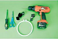 Needed: TOOLS: a drill with 3/16-inch bit, screwdriver, scissors. PARTS: 6-inch Embroidery hoop, knee-hi hose, mic holder