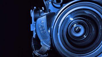 Closeup of a camcorder lens