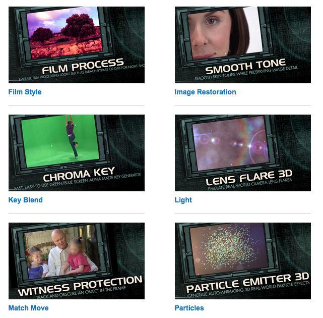 Boris Film Style, Image Restoration, Key Blend, Light, Match Move, Particles