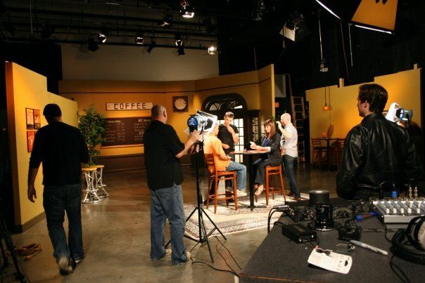 Producer Chuck Peters and his crew on the set in Nashville